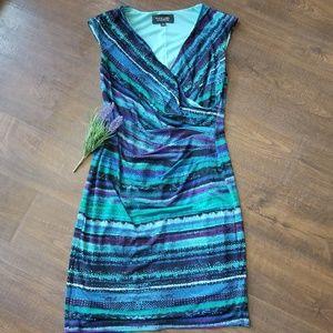 Evan Picone Black Label Faux Wrap Dress Size 6